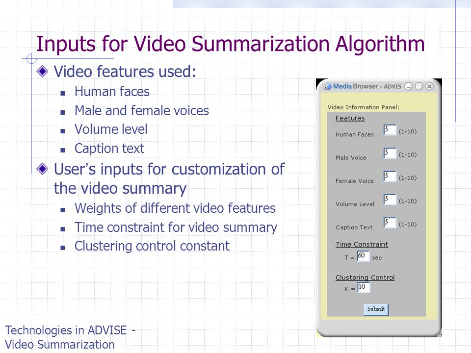 Inputs for Video Summarization Algorithm