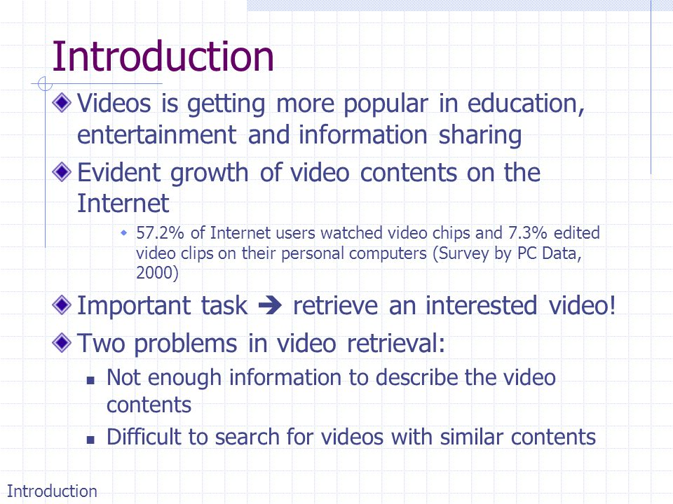Introduction Videos is getting more popular in education, entertainment and information sharing. Evident growth of video contents on the Internet.