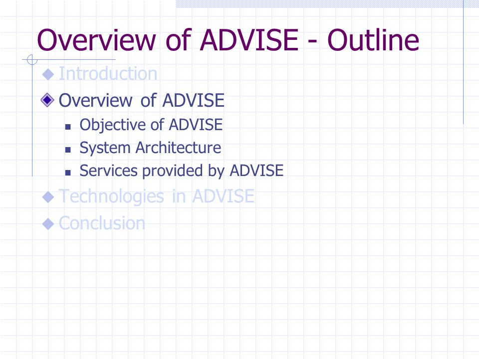 Overview of ADVISE - Outline