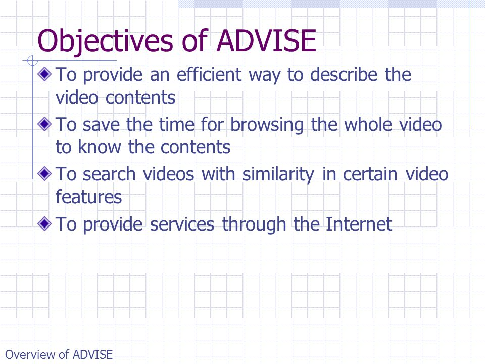 Objectives of ADVISE To provide an efficient way to describe the video contents. To save the time for browsing the whole video to know the contents.