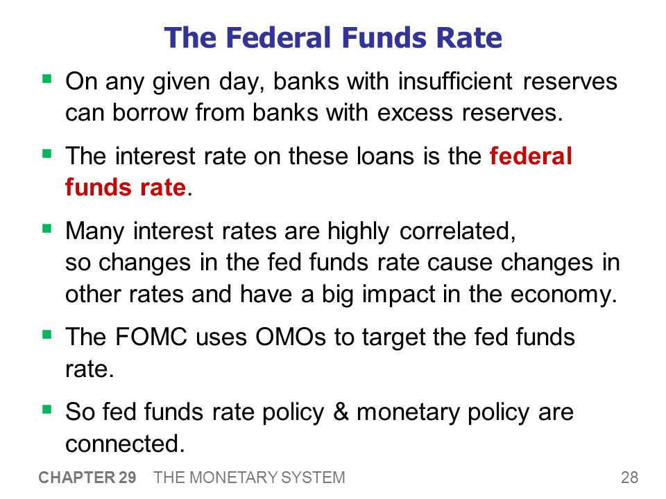 The Federal Funds Rate The Federal Funds market. To raise fed funds rate, Fed sells govt bonds (OMO).