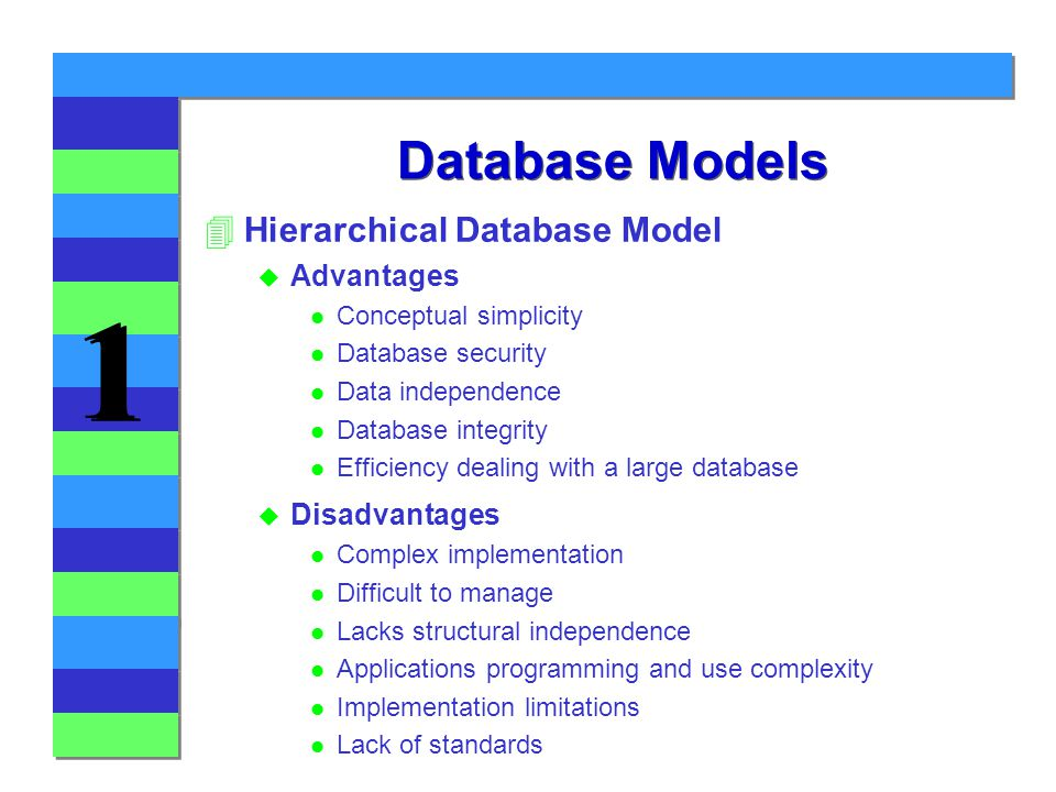 advantages of hierarchical databases What would be the pros and cons of hierarchical data vs related data, in performance (and categorization) the dominant database paradigm was hierarchical and then relational databases afford you the ability to reconstruct your hierarchies at will with roughly equal efficiency.