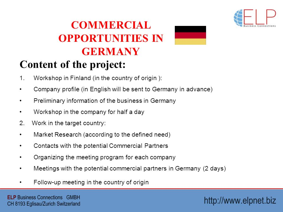 COMMERCIAL OPPORTUNITIES IN GERMANY