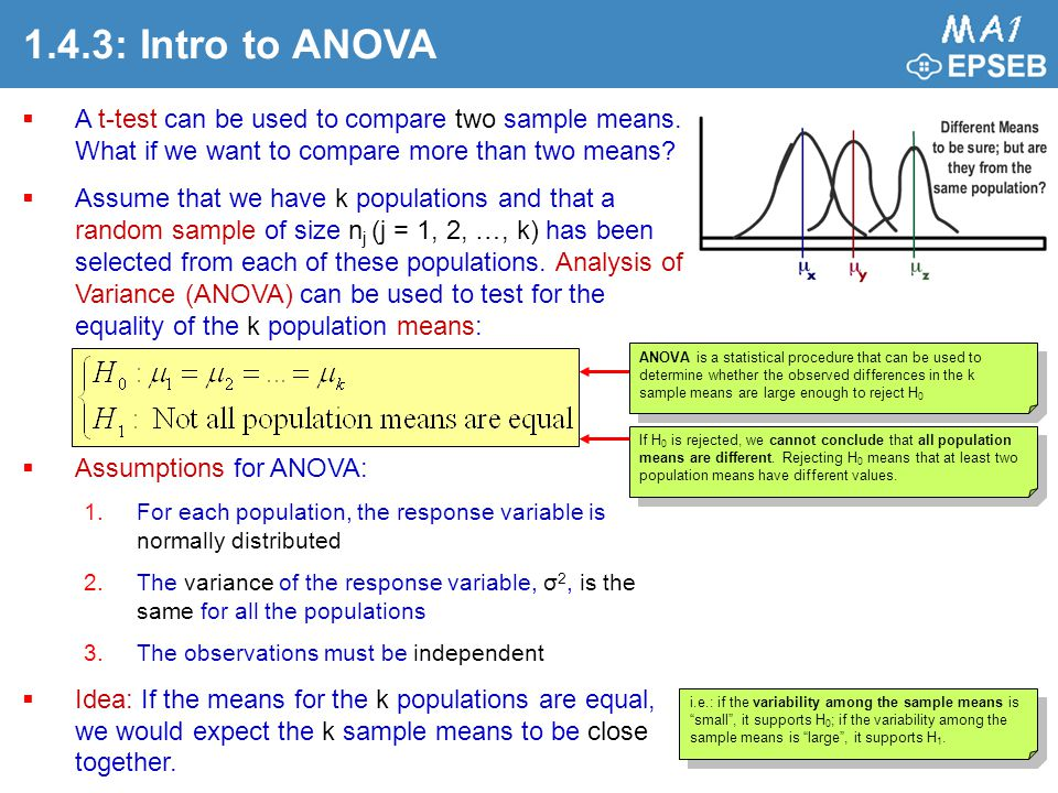 1.4.3: Intro to ANOVA A t-test can be used to compare two sample means. What if we want to compare more than two means