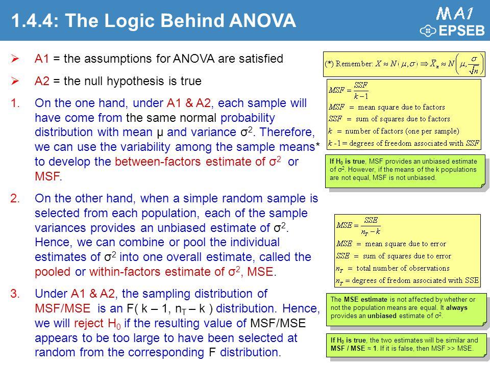the logic of anova Logic anova 공식 ss 분해 ss total ss within ss between df 분해 df total df within df between 분산 값과 (ms) f 값 구하기 anova와 t-test는 샘플 그룹 간의 평균을.