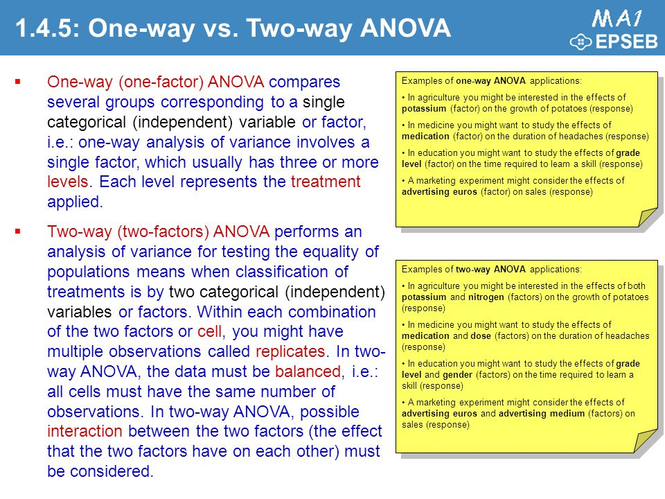 1.4.5: One-way vs. Two-way ANOVA