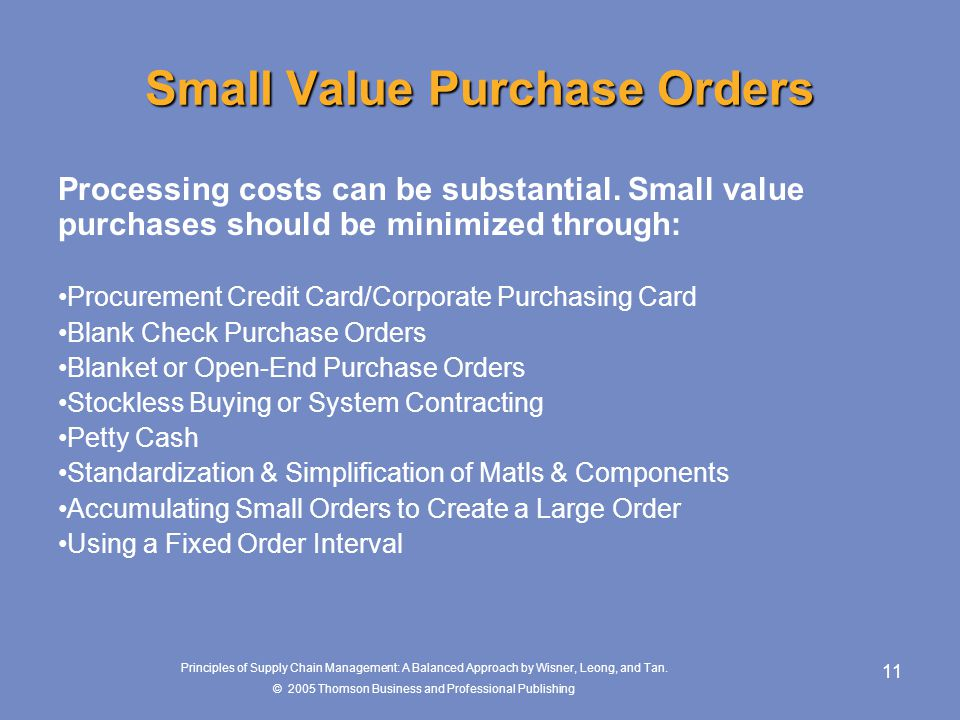 Small Value Purchase Orders
