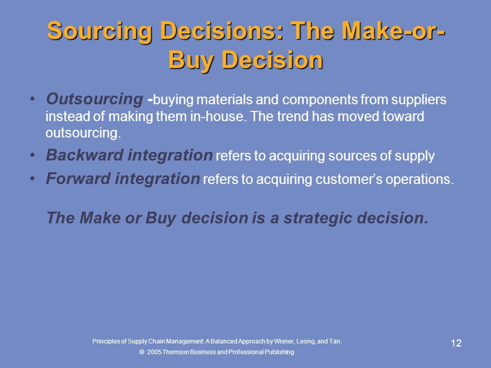 Sourcing Decisions: The Make-or-Buy Decision