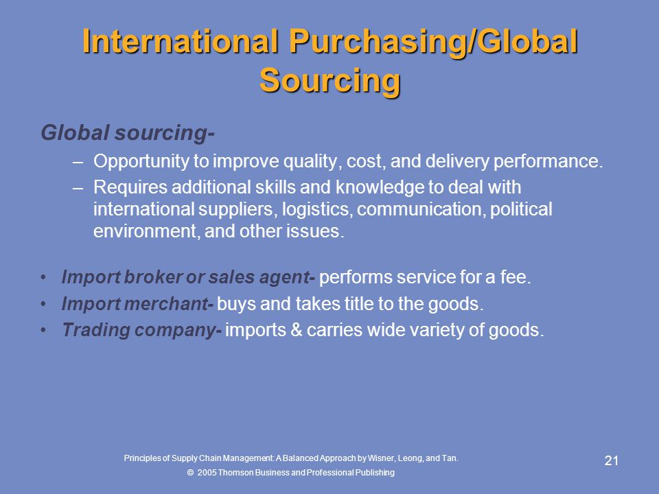 International Purchasing/Global Sourcing