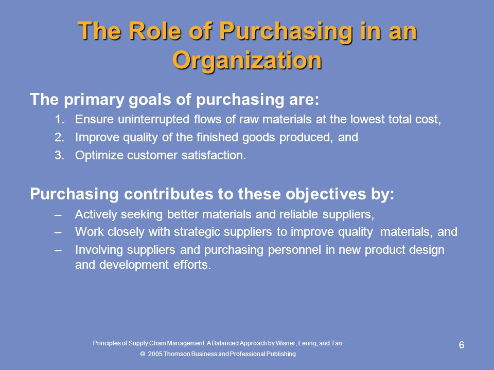 The Role of Purchasing in an Organization