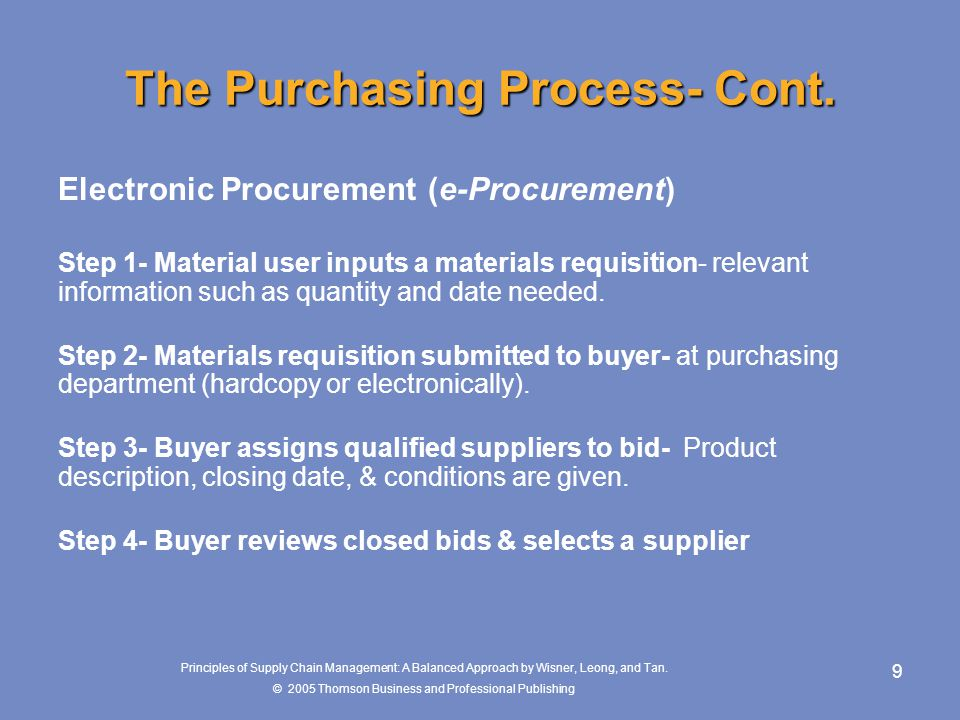 The Purchasing Process- Cont.
