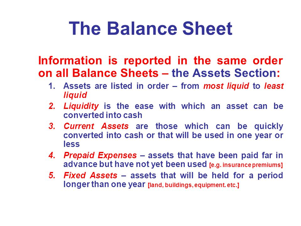 The Balance Sheet Information is reported in the same order on all Balance Sheets – the Assets Section: