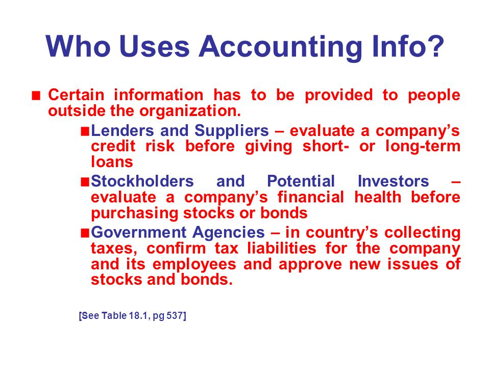 Who Uses Accounting Info