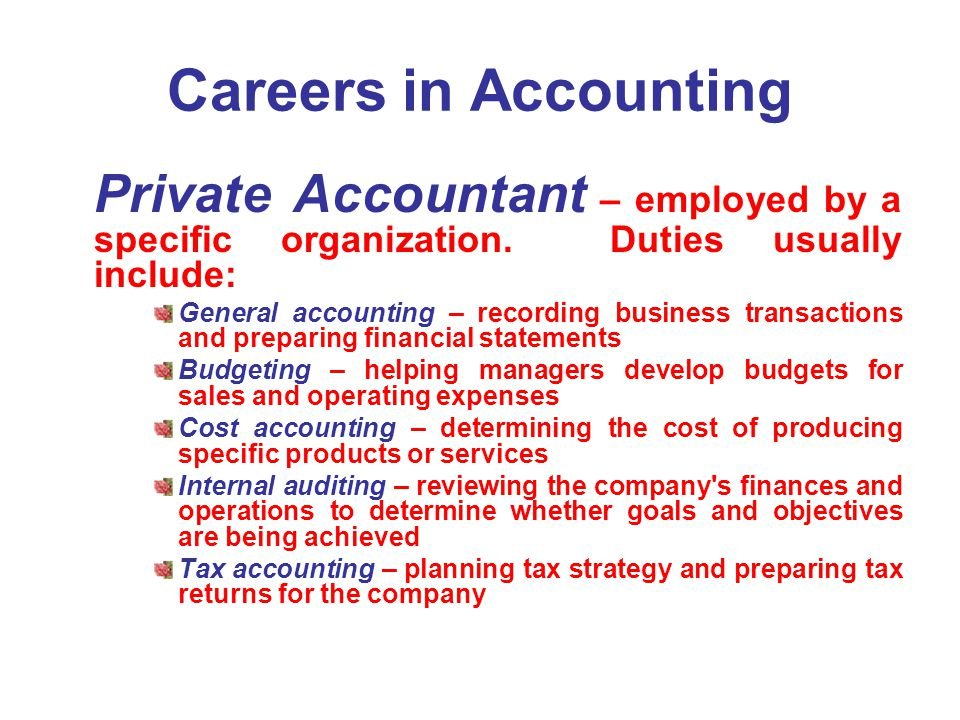 Careers in Accounting Private Accountant – employed by a specific organization. Duties usually include:
