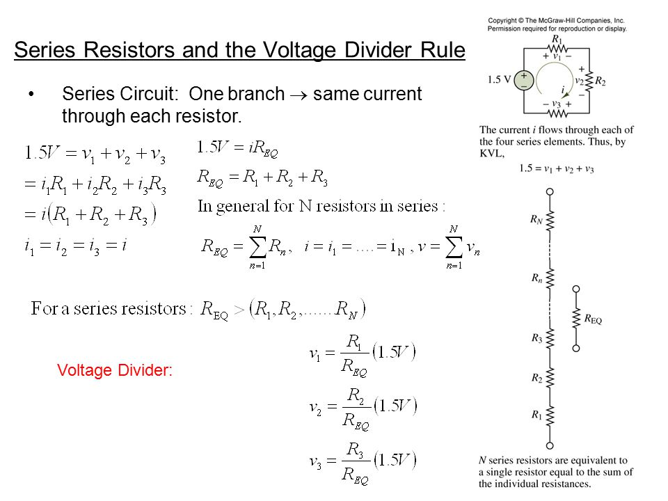 Series Resistors and the Voltage Divider Rule
