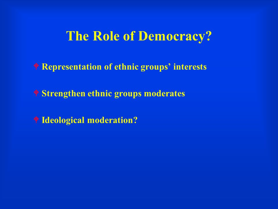 The Role of Democracy Representation of ethnic groups' interests