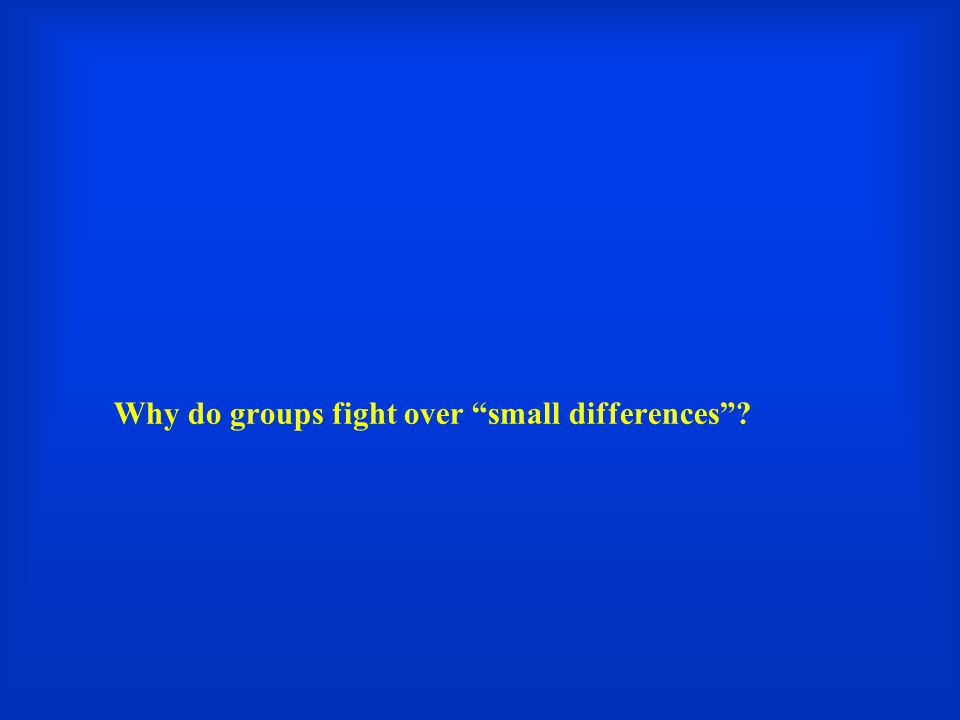 Why do groups fight over small differences