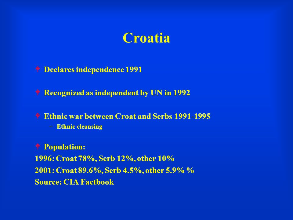 Croatia Declares independence 1991