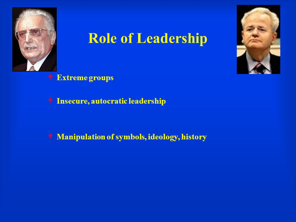 Role of Leadership Extreme groups Insecure, autocratic leadership