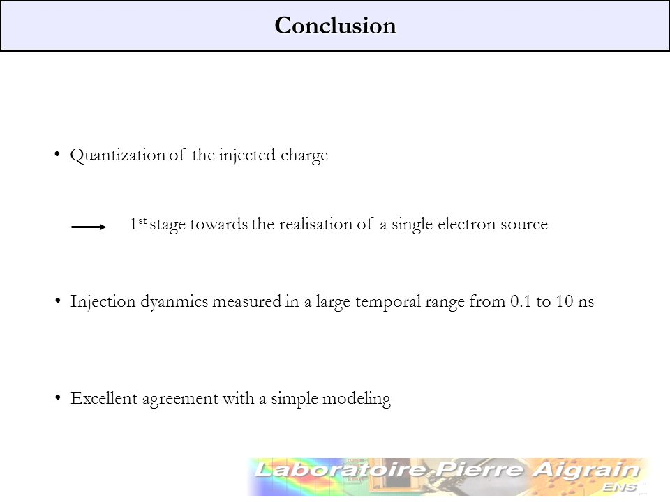 Conclusion Quantization of the injected charge