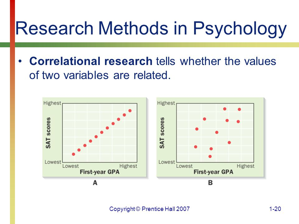 research methods correlation Correlational methodologies and experimental ones are the two approaches to doing research experimental studies allow the researcher to control the variables in the.