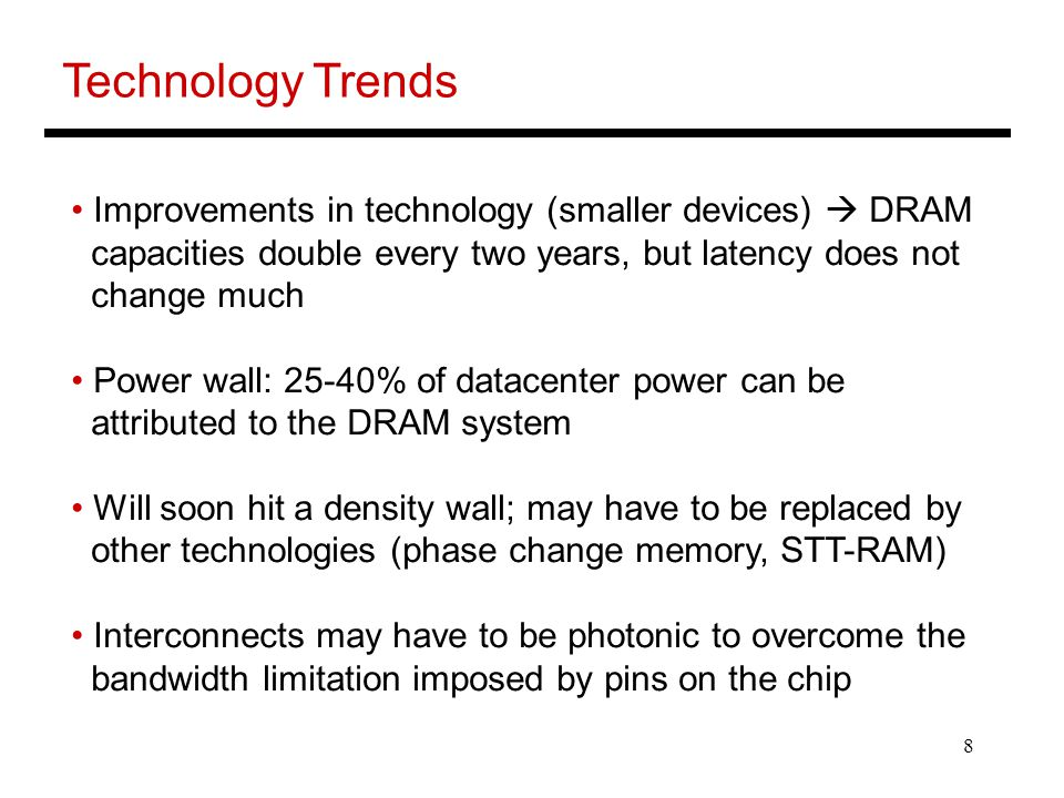 Technology Trends Improvements in technology (smaller devices)  DRAM