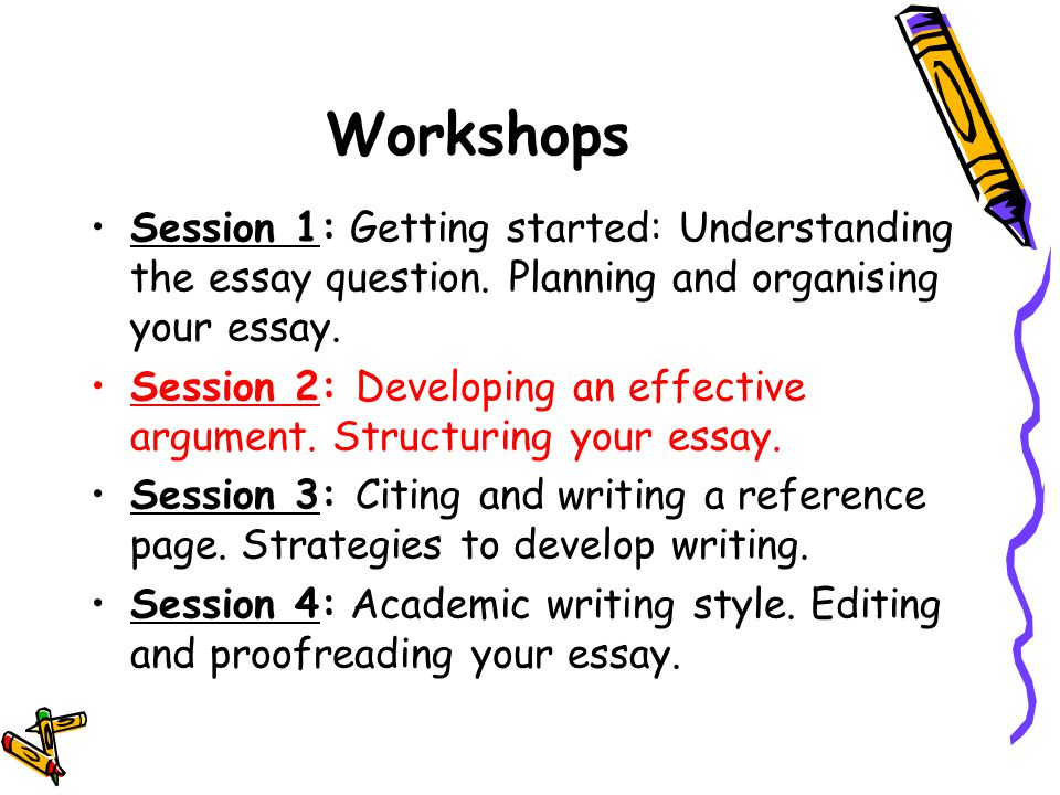 Essay writing workshop ppt