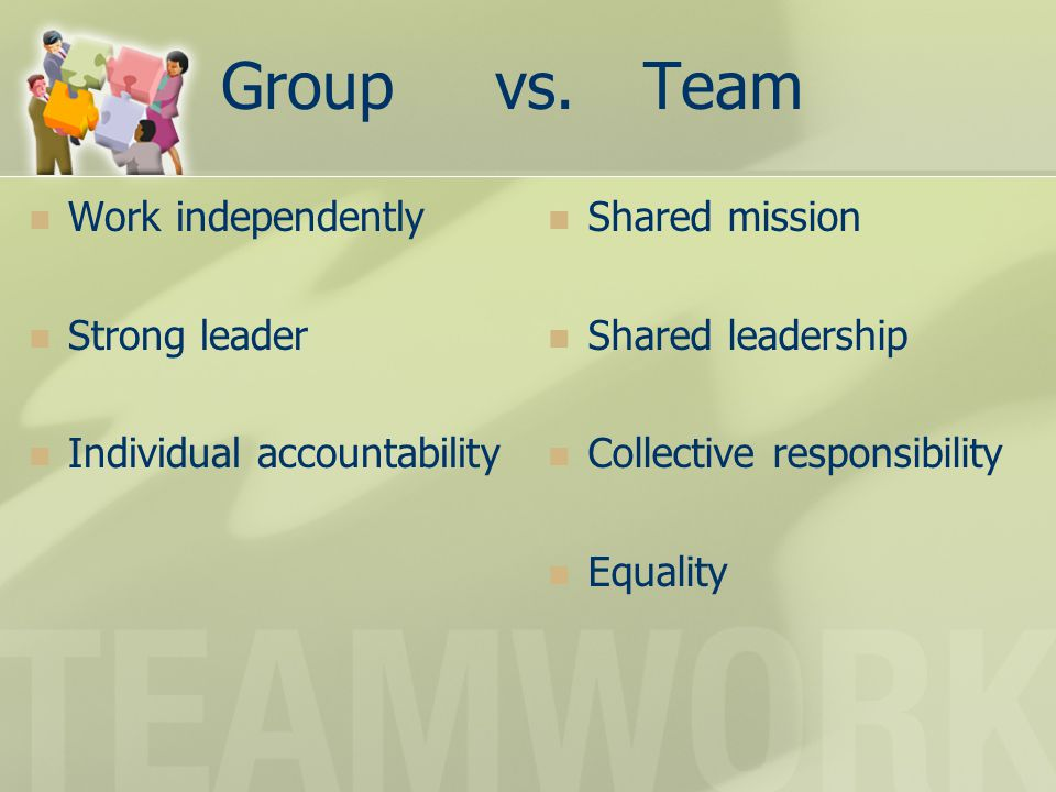 Group vs. Team Work independently Strong leader