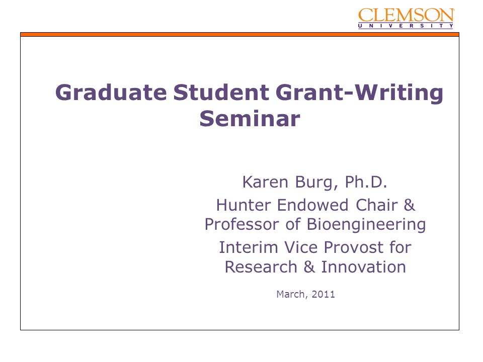 grant writing seminar Write winning grant proposals the office of research and economic development will offer a grant writing seminar,.