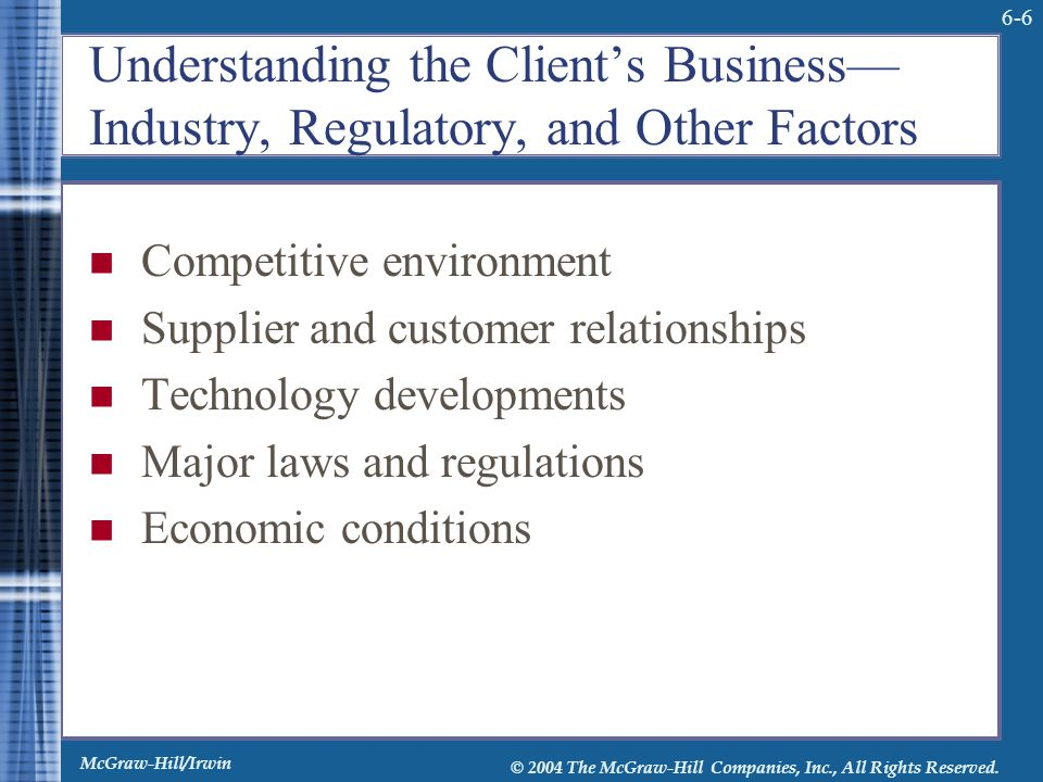 Understanding the Client's Business—Industry, Regulatory, and Other Factors