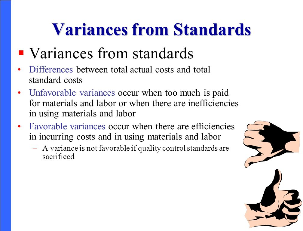 Variances from Standards