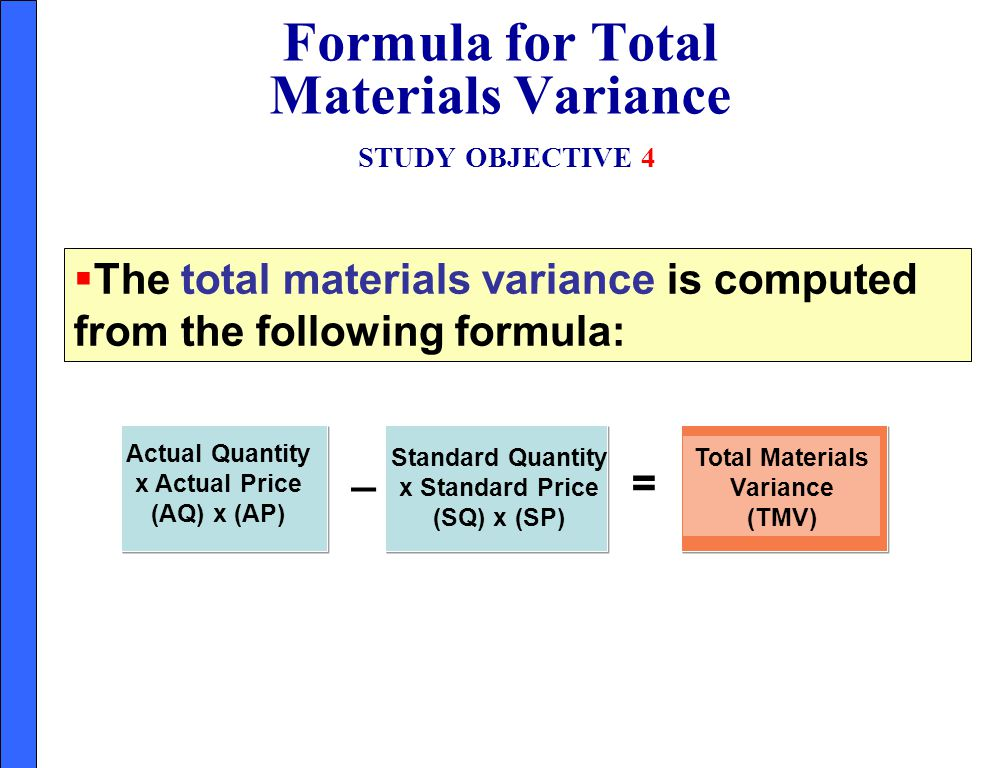 Formula for Total Materials Variance STUDY OBJECTIVE 4