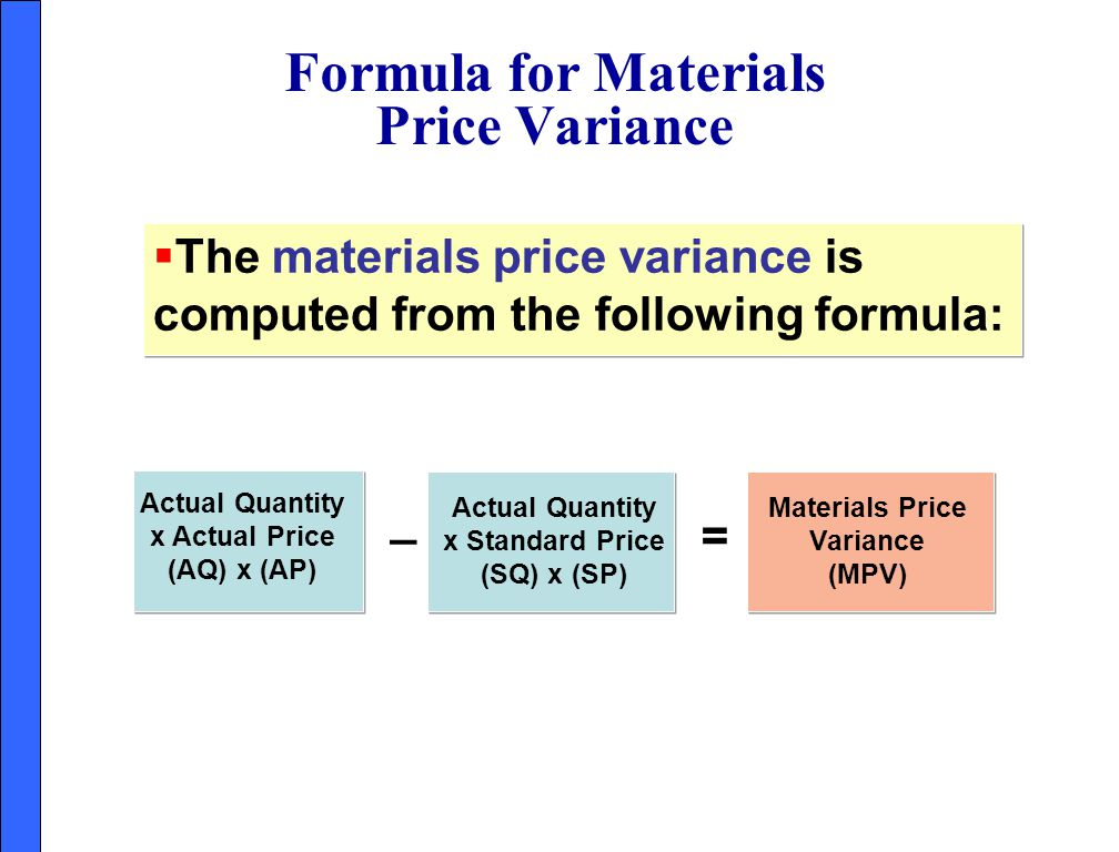 Formula for Materials Price Variance