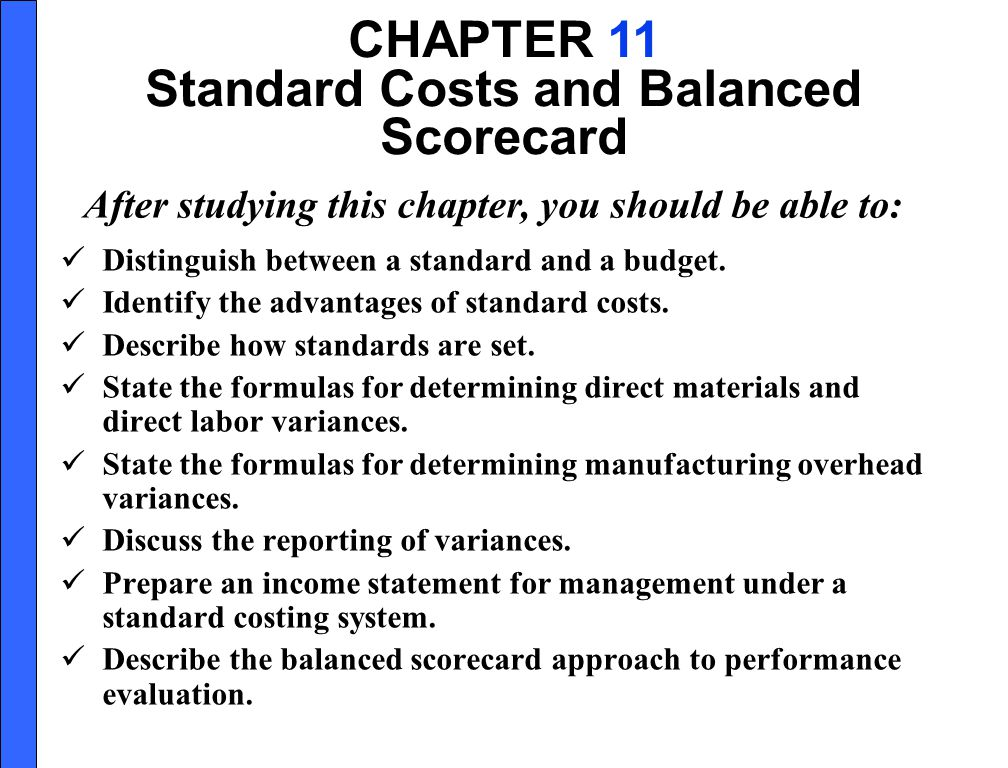 Standard Costs and Balanced Scorecard