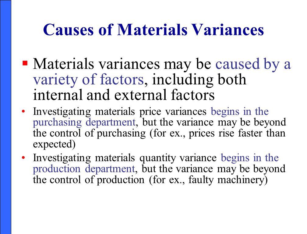 Causes of Materials Variances
