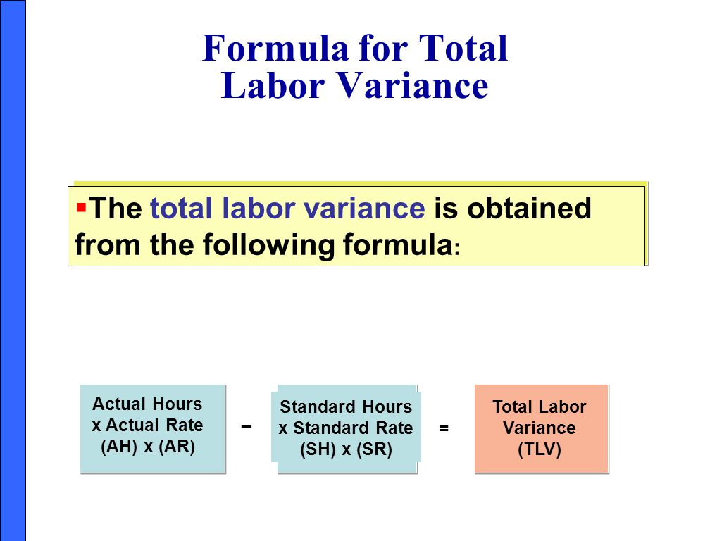 Formula for Total Labor Variance
