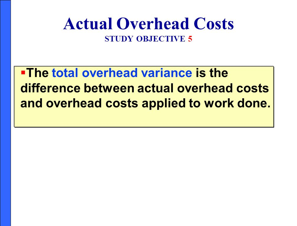 Actual Overhead Costs STUDY OBJECTIVE 5