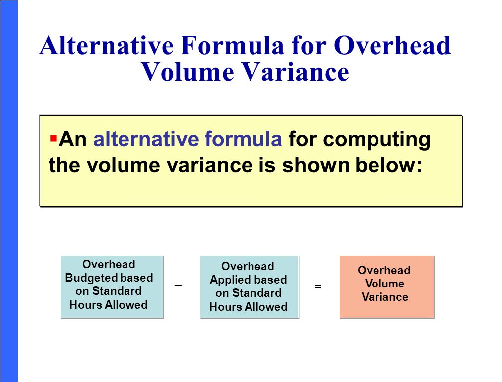 Alternative Formula for Overhead Volume Variance