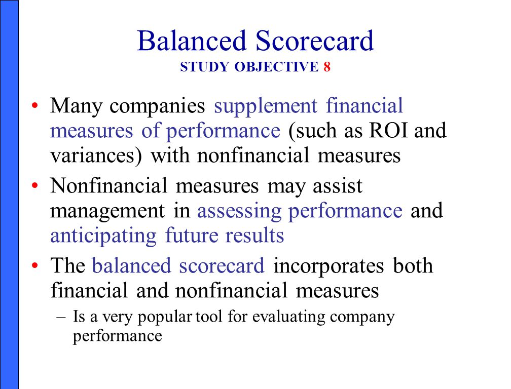 Balanced Scorecard STUDY OBJECTIVE 8