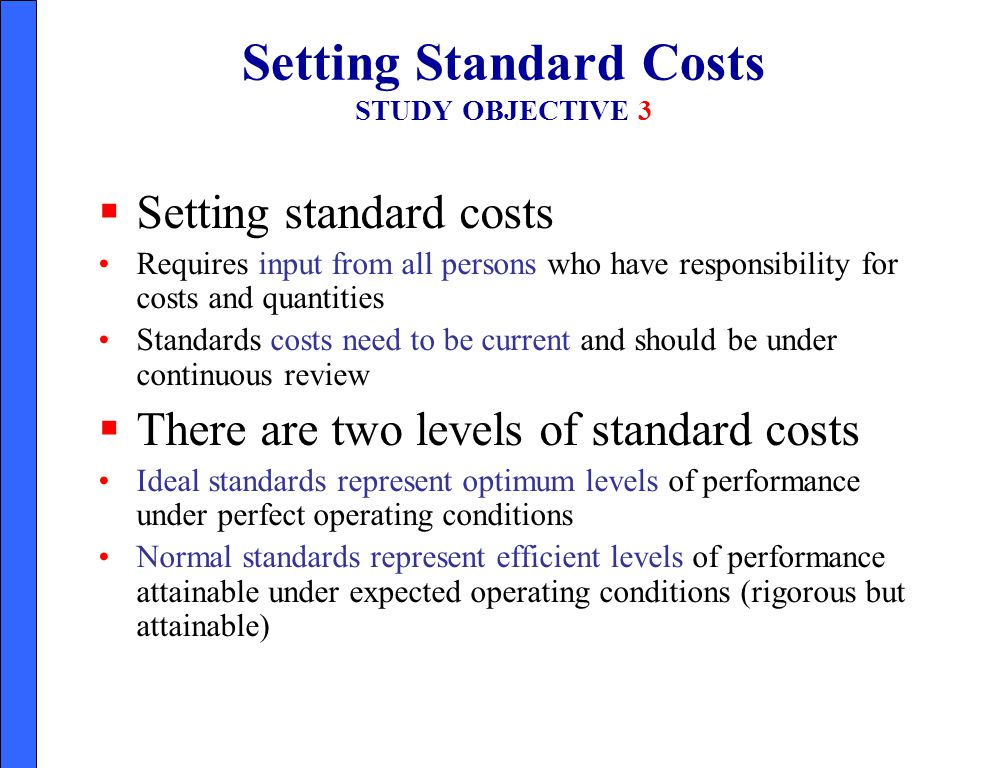 Setting Standard Costs STUDY OBJECTIVE 3