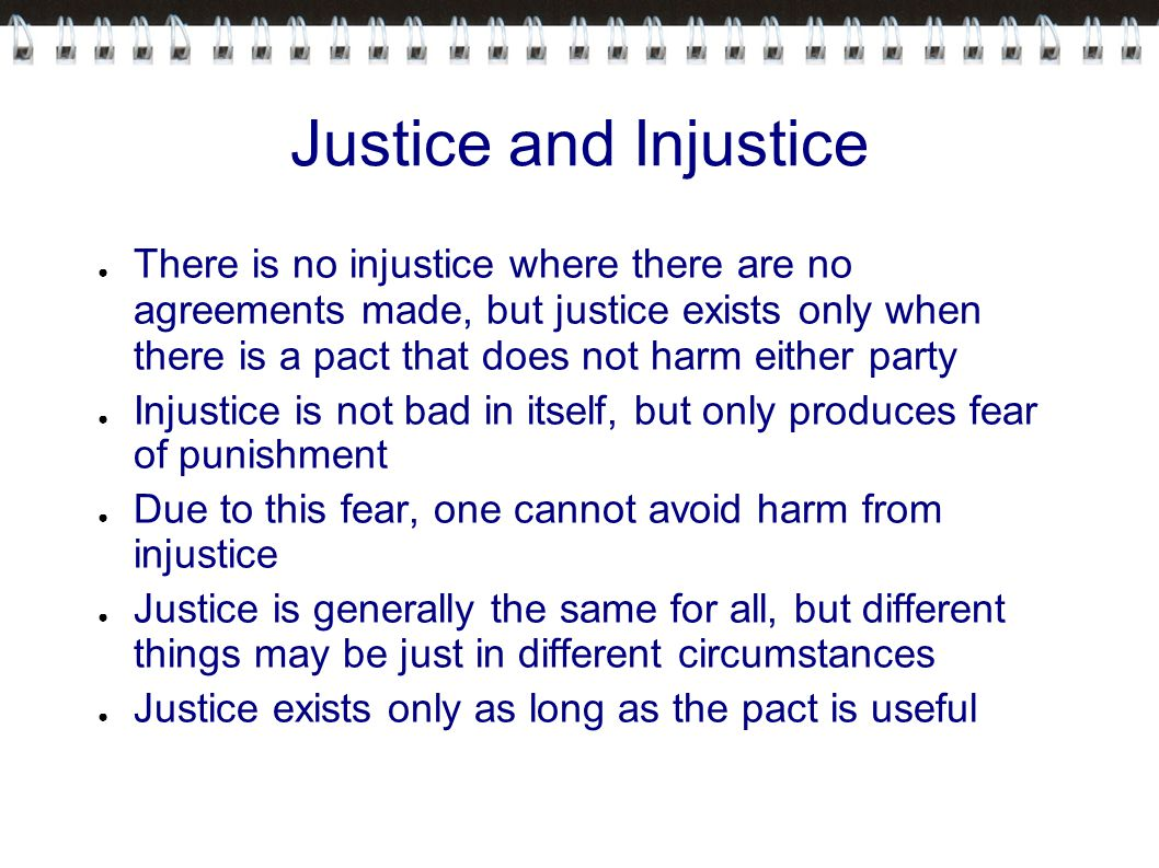 justice and injustice Get everything you need to know about crime, justice, and injustice in zeitoun analysis, related quotes, theme tracking.