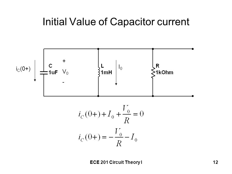 Initial Value of Capacitor current