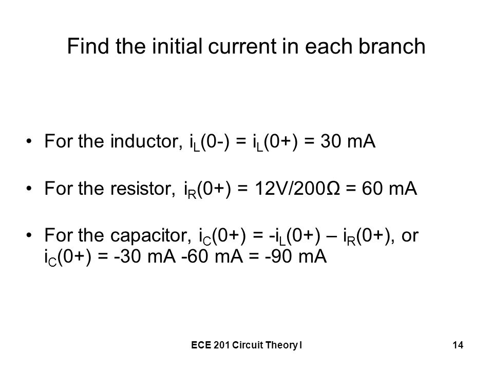 Find the initial current in each branch