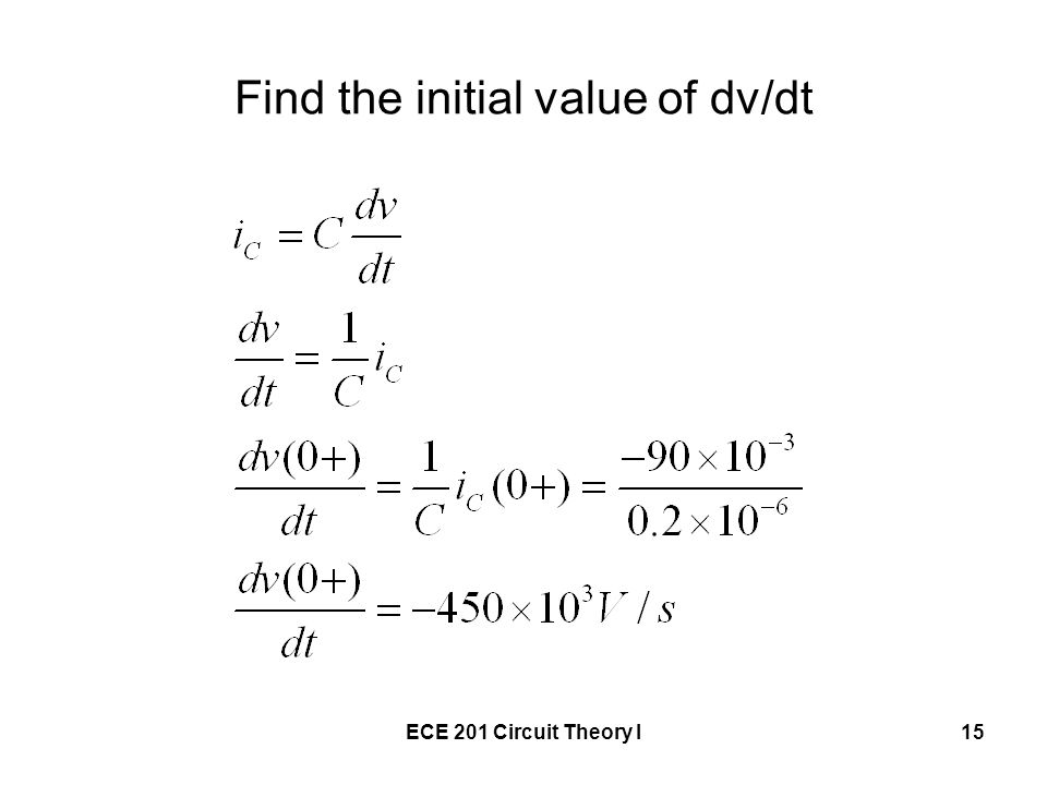 Find the initial value of dv/dt