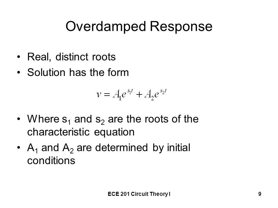 Overdamped Response Real, distinct roots Solution has the form