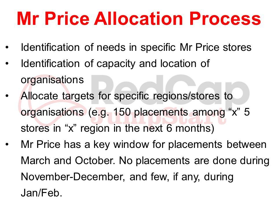 Mr Price Allocation Process