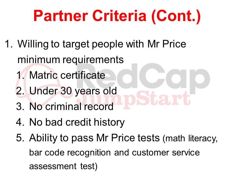 Partner Criteria (Cont.)