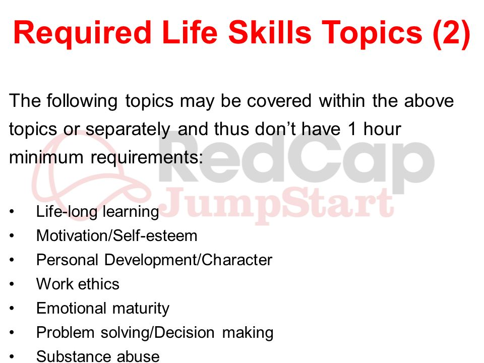 Required Life Skills Topics (2)
