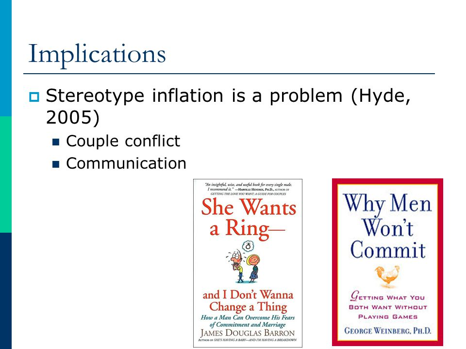 Implications Stereotype inflation is a problem (Hyde, 2005)