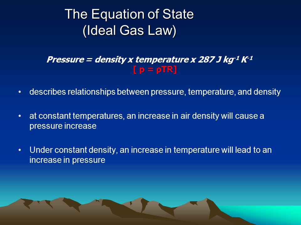 The Equation of State (Ideal Gas Law)